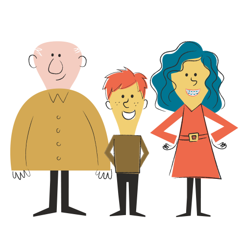 Image of cartoon family for the tooth decay blog